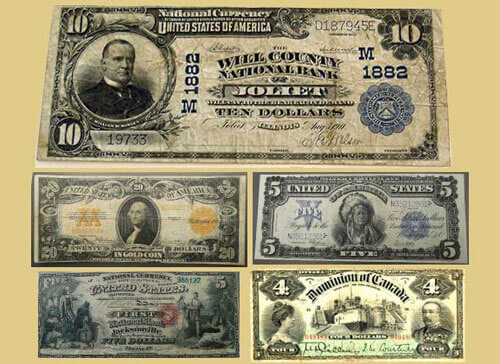 America Antique Paper Currency