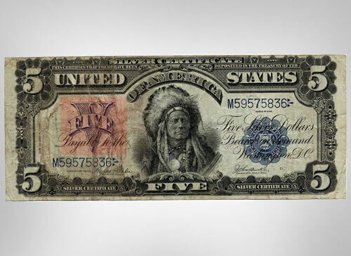 United States 1899 Indian Chief 5 Dollar